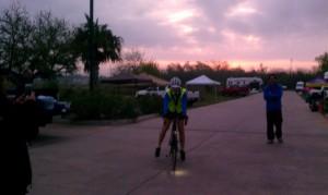 Amy finishing the race