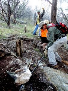 Rock work on Tinaja trail